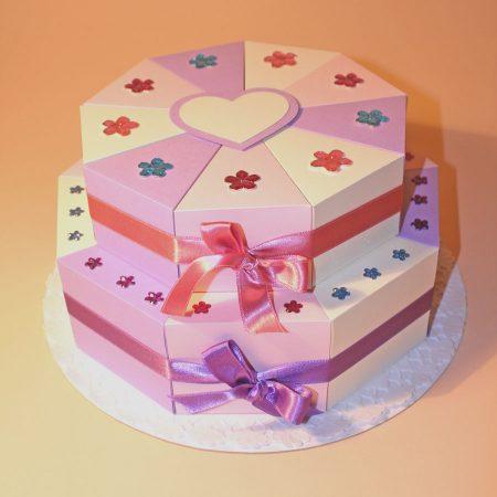 Pénzajándék papírtorta - 2 emeletes - bézs, rózsaszín, lila, virágos - esküvőre, születésnapra, ballagásra, keresztelőre
