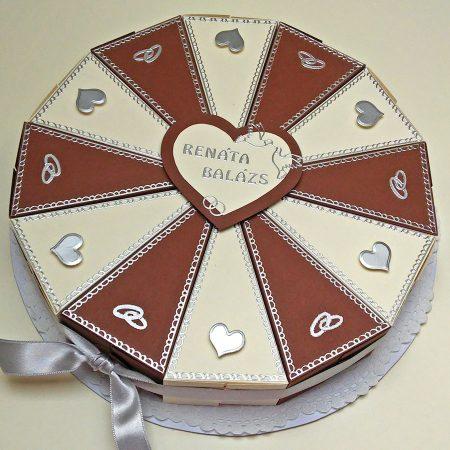 Pénzajándék papírtorta - 12 szeletes - bézs, barna, ezüst díszítéssel, szívek, jegygyűrűk - esküvőre nászajándékba