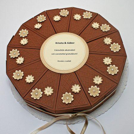 Papírtorta esküvőre - barna, domborított mintás, virágos 12 szeletes torta nászajándékba - Pénzajándék