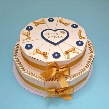 Pénzajándék papírtorta - 2 emeletes - bézs, arany és kék díszítéssel, virágok, masnik - esküvőre nászajándékba