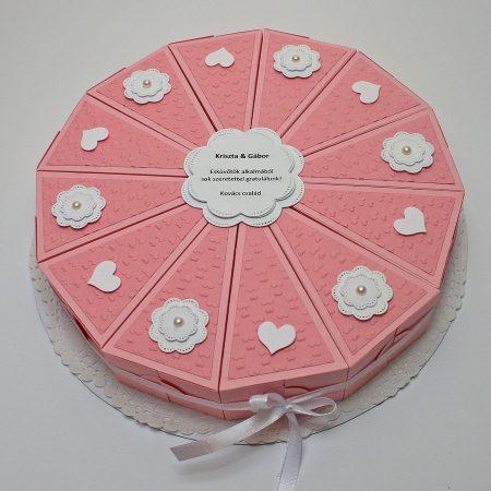 Papírtorta esküvőre - rózsaszín, fehér, domborított mintás, virágos 12 szeletes torta nászajándékba - Pénzajándék