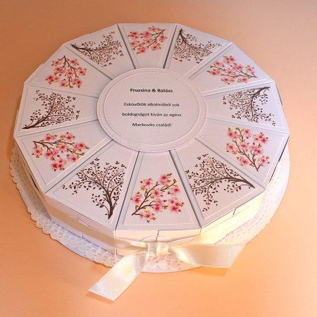 Ajándék esküvőre - papírtorta - fehér, virágos, faágas - nászajándék