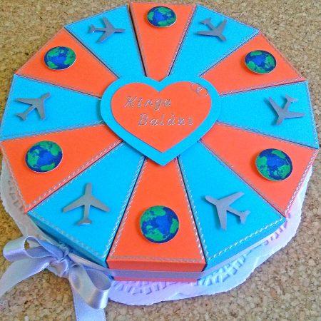 Pénzajándék papírtorta nászajándékba, esküvőre - kék-narancs, földgömbös, repülős díszítéssel