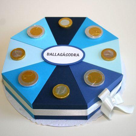Ballagási papírtorta - kék, 8 szeletes torta ballagásra csokipénzzel, pénz átadására - Pénzajándékok