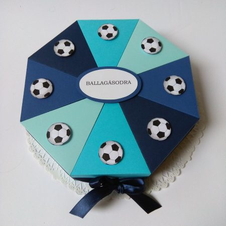 Ballagási papírtorta - kék focis torta ballagásra, pénz átadására - Pénzajándékok