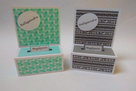 Ballagási pénzes dobozka - színes mintás papírral, zöld, fekete-fehér - ajándék pénz ballagásra - Pénzajándék