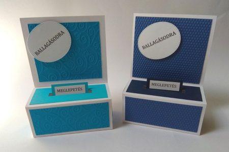Ballagási pénzes dobozka - domborított mintával, kék-fehér - ajándék pénz ballagásra - Pénzajándék