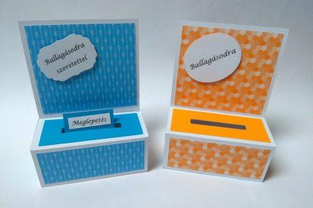 Ballagási pénzes dobozka - színes mintás papírral, kék, sárga - ajándék pénz ballagásra - Pénzajándék