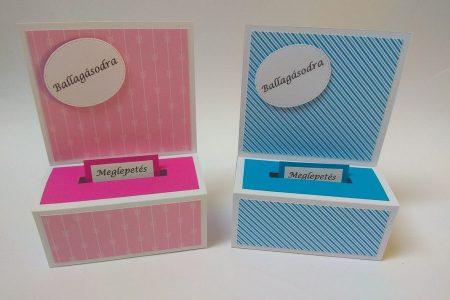 Ballagási pénzes dobozka - színes mintás papírral, rózsaszín, kék - ajándék pénz ballagásra - Pénzajándék
