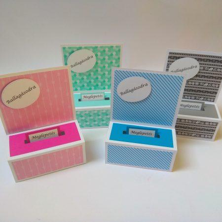 Ballagási pénzes dobozka - színes mintás papírral, rózsaszín, zöld, kék, fekete-fehér - ajándék pénz ballagásra - Pénzajándék