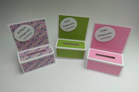 Ballagási pénzes dobozka - színes mintás papírral, lila, zöld, rózsaszín - ajándék pénz ballagásra - Pénzajándék
