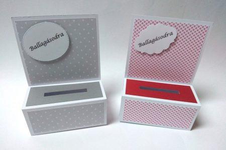 Ballagási pénzes dobozka - színes mintás papírral, szürke, piros-fehér - ajándék pénz ballagásra - Pénzajándék