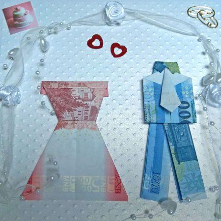 Hajtogatott pénzpár nászajándékba - meglepetés doboz esküvőre