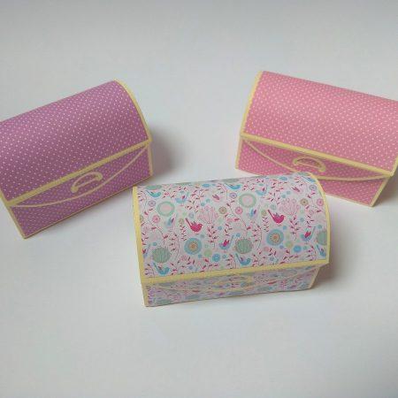 Kincses ládikák - papír ajándék átadó doboz - rózsaszín, lila papírdoboz