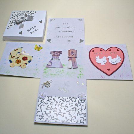 Meglepetésdoboz esküvőre, nászajándékba - fehér-fekete, ezüst díszítés, pénzpár, galambok, babakocsi