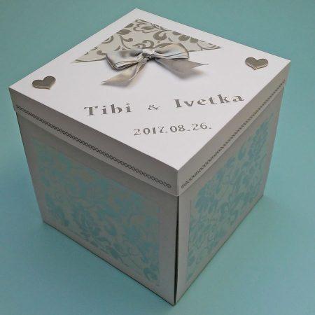 Meglepetés doboz esküvőre - fehér, ezüst nagy virágos doboz kívülről - nászajándék - Pénzajándék