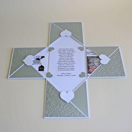 Meglepetésdoboz esküvőre, nászajándékba - fehér, ezüst díszítés, szívek - zsebek az ajándékoknak, pénznek, utalványnak