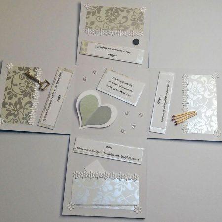 Meglepetés doboz esküvőre - fehér, ezüst nagy virágos, a házasság kellékeivel - nászajándék - Pénzajándék