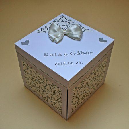 Meglepetés doboz esküvőre - fekete-fehér-ezüst, masnival - nászajándék - Pénzajándékok