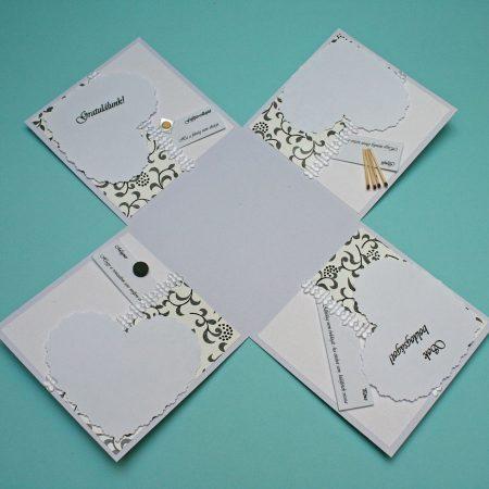 Meglepetés doboz esküvőre - fekete-fehér a házasság kellékeivel - nászajándék - Pénzajándék