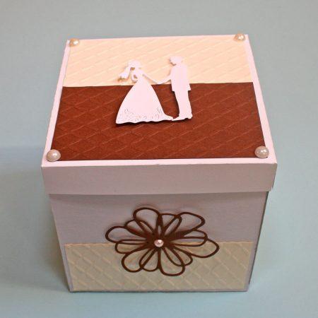 15x15 cm-es meglepetés doboz esküvőre - bézs, barna, fehér - nászajándék