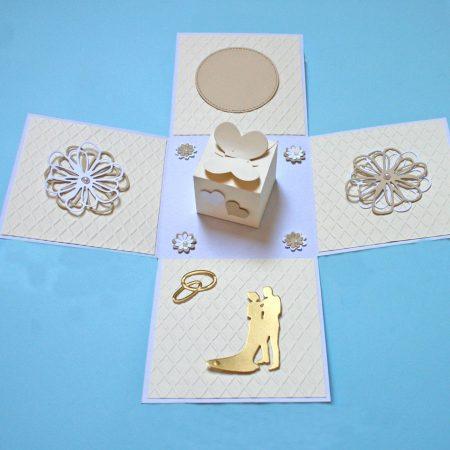 15x15 cm-es meglepetés doboz esküvőre - bézs, fehér - nászajándék