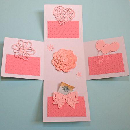 15x15 cm-es meglepetés doboz esküvőre - rózsaszín, fehér - nászajándék