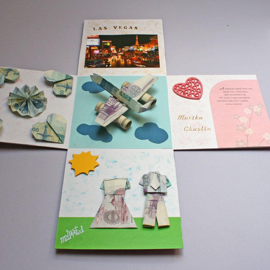 17x17 cm-es meglepetés doboz esküvőre - nászutas, hajtogatott pénzzel, repülő, pénzpár, virágok - nászajándék