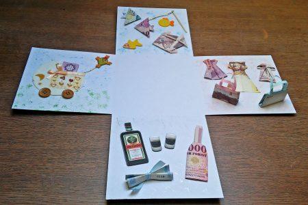 Meglepetésdoboz esküvőre, nászajándékba - hajtogatott pénz, pénzpár, pénzhalak, pénzruha, babakocsi