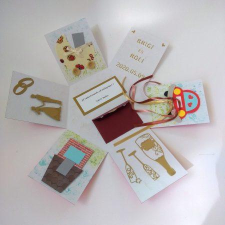 Meglepetés doboz esküvőre belülről - Pokemon labda - nászajándék, pénzajándék