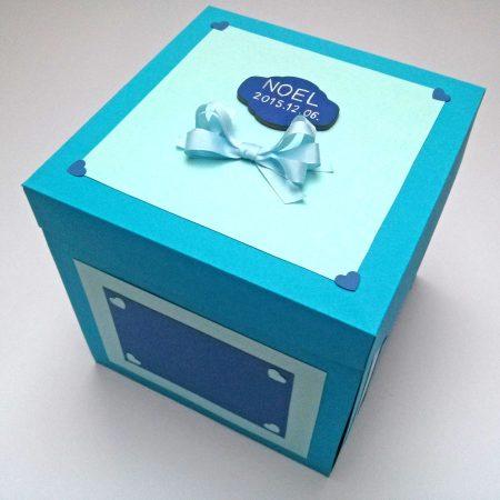 Meglepetésdoboz keresztelőre - doboz babának - kék, gyerekes díszítés - doboz külső