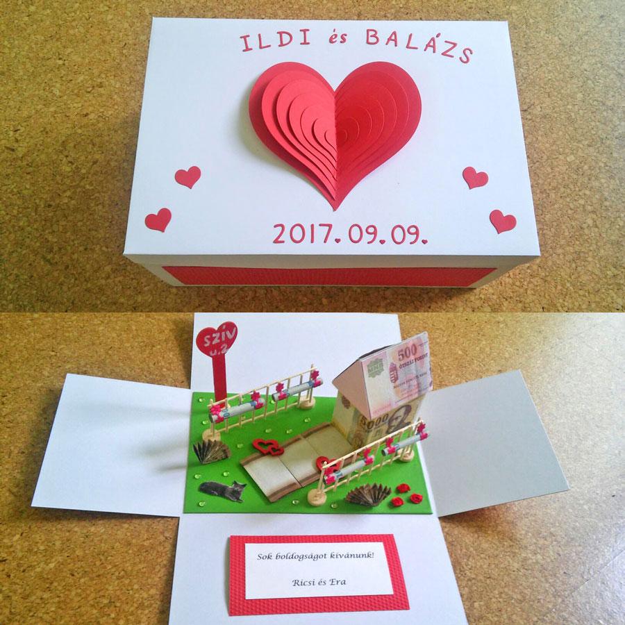Meglepetés doboz nagy házzal - esküvőre, nászajándékba - piros szíves, hajtogatott pénzzel