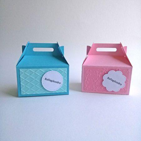 Papírdobozka ballagásra - kék, rózsaszín doboz - pénz, meglepetés csomagolására ballagónak - Pénzajándék