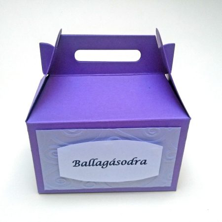Papírdobozka ballagásra - lila doboz - pénz, meglepetés csomagolására ballagónak - Pénzajándék