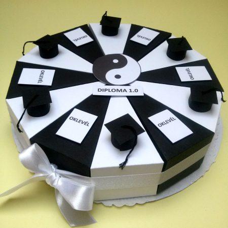 Papírtorta - fekete-fehér, 12 szeletes torta ballagásra, diplomaosztóra - Pénzajándékok