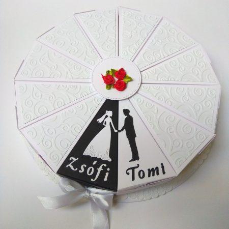 Papírtorta esküvőre - fekete-fehér jegyespáros, 12 szeletes torta - nászajándék, pénzajándék