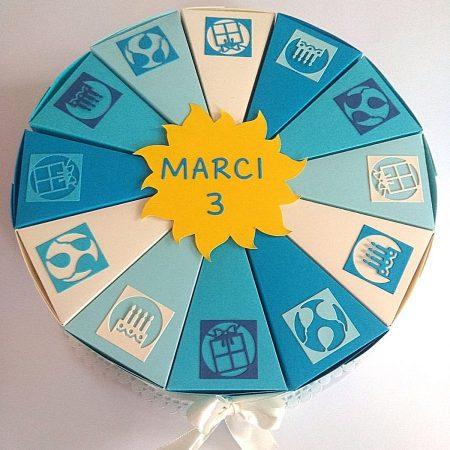 Papírtorta születésnapra - 12 szeletes torta óvodásoknak - kék-bézs - Pénzajándék