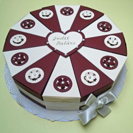 Ajándék esküvőre - papírtorta - bordó, bézs, virágokkal - nászajándék