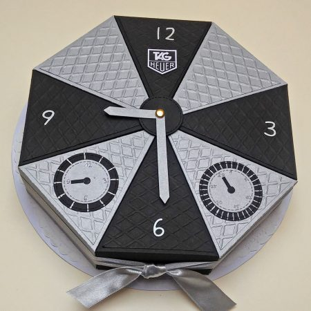 Pénzajándék papírtorta - szürke, fekete, óra - születésnapi ajándék