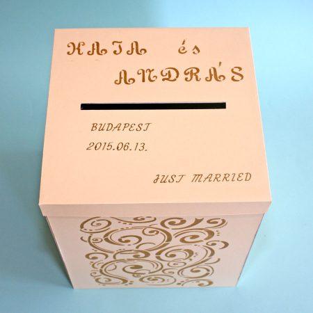 Nagy pénzgyűjtő doboz esküvőre - bézs-arany - Pénzajándék