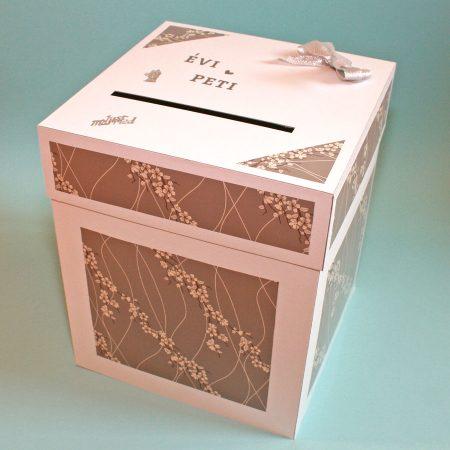Kicsi pénzgyűjtő doboz esküvőre - fehér, ezüst virágos - Pénzajándék