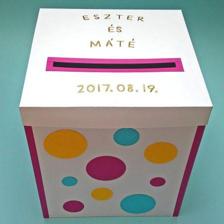 Kicsi pénzgyűjtő doboz esküvőre - színes pöttyökkel - Pénzajándék