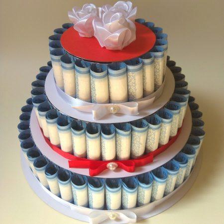Pénztorta - három emeletes torta nászajándék - pénzt esküvőre